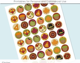 Thanksgiving Fall Autumn Digital Collage Sheet Circle 30mm 25mm 20mm Download Sheets for Glass Pendants Cuff Links Round