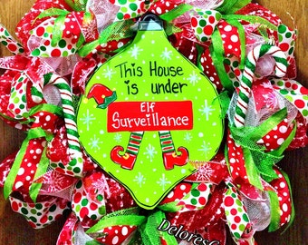 SALE - Elf Surveillance for your Home Bulb Candy Canes Glitter Door Wreath!