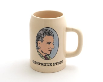 Gertrude Stein, beer stein, feminist, parks and recreation fan art, gift for writer, pawnee goddess creation, funny gift