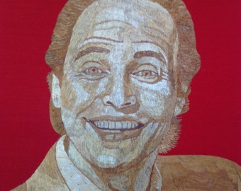 Billy Crystal portrait handmade with dried leaves of rice plant (straw art) unique collectible art. Only one made museum piece  Great gift
