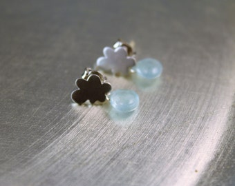 Little Cloud Earrings with Moss Aquamarine Briolettes