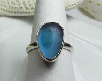 Light Aqua Sea Glass Ring, Blue Glass Ring, Sea Glass Jewelry, Blue Sea Glass