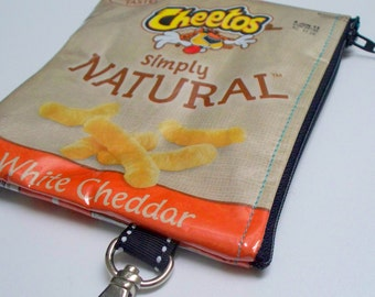 Key Ring Coin purse - UPCYCLED - Recycled CHEETOS Cheese Puffs chip bag - Repurposed into a - Change Purse with Lobster Clasp