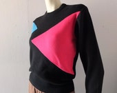 Vintage Ski Sweater 1980s Black Geometric Mod Pink Turquoise Color Block - sz sm medium - Herman's Sporting Goods Retro Killington Stratton