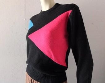 Vintage Ski Sweater 1980s Black Geometric Mod Pink Turquoise Color Block - sz sm medium - Herman's Sporting Goods Retro Killington Stratton