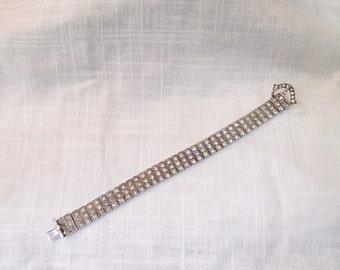 Vintage 1920s Sterling and Rhinestone Buckle Bracelet