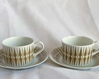 Pair of Pajazzo Demitasse Cups and Saucers - Arabia of Finland - Tan - Vintage