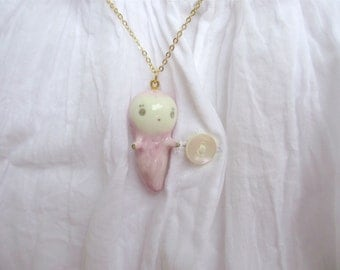 Tiny Ghost Pendant-lilac