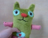 Little Kitty - nice  squeaky toy, green soft plush toy , cute plushie, cat, toy for baby