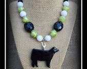 Black Glass Show Steer Pendant With Beaded Necklace