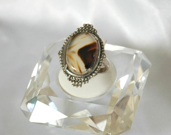 Samuel Platzer Co Moss Agate Ring, Translucent Slice, Sterling, Beaded Setting, Open Back, Signed S.P. Co., Sz 7.5, Excellent Condition