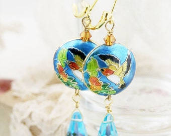 Fengque earrings - Chinese cloisonne