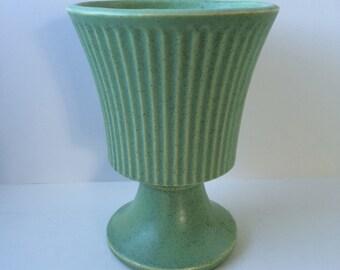 Floraline Green Pedestal Vase, McCoy, USA Pottery