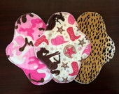 "9.5"" Medium Flow Reusable Cloth Pad Trio~ Cheetah, Pink Camo, and Cowgirl Minky ~ by Talulah Bean"