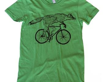 Fox on a Bike - Womens American Apparel Grass TShirt | s, m, l, xl