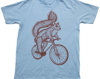 Squirrel on a Bicycle- Baby Blue American Apparel Cotton Shirt  - T-Shirt Available in XS, S, M, L, and Xl