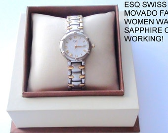 ESQ MOVADO Esquire  Ladies Watch 18k gold Plated Swiss Made Working from 1990s  On SaLe Now