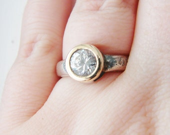 Vintage bridal Italian SU 925 sterling silver and Cubic Zirconia crystal cocktail ring with 14K gold- size 6.5 (RI-2)