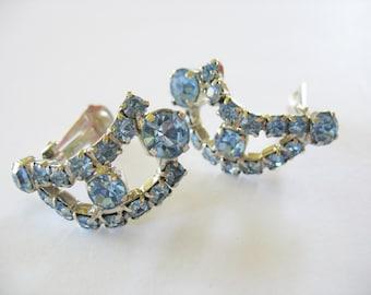 Blue Rhinestone Earrings Teardrop 1950's clip on