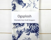 Draft Stopper, Door Snake, Blue, White, Bone China Print,  224.