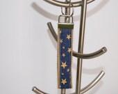 Handmade Key Fob/Key Chain Wristlet Khaki Webbing Blue Fabric Gold Stars Great Gifts
