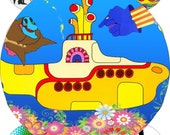 Yellow submarine 2 inches circle pendant, buttons, scrapbook and more Vintage Digital Collage Sheet No.1641