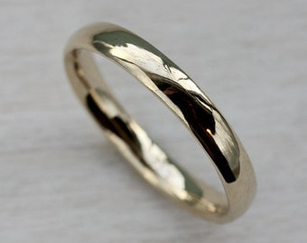 3mm Hand-Carved Classic Women's Wedding Band - Gold and Palladium Available - Simple, Modern, Eco-Friendly Ring - Minimal and Organic