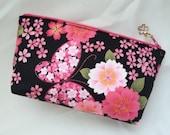 Sakura & Butterfly Cosmetic Purse / Zipper Pouch