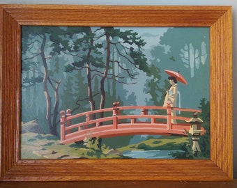 Vintage Paint by Number Japanese Geisha on a Bridge.