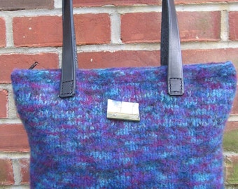 Blue and Purple Purse Wool Hand Knitted Felted Custom Lined