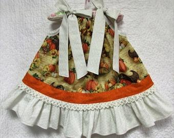 Fall/Thanksgiving Girls Dress 12M-18M Cream Orange White Pillowcase Dress, Pillow Case Dress