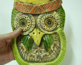 Decorative Owl Mask-stoneware hand sculpted Owl Mask