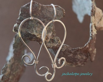 Silver earrings; Sterling silver paisley earrings; paisley earrings