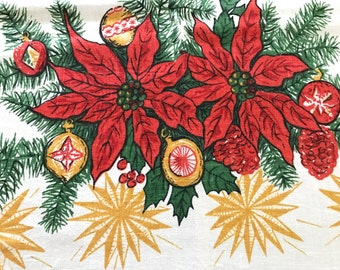 Vintage CHRISTMAS Tablecloth Linen Table Cloth Poinsettia Shiny Brites Ornaments BONUS Vintage Handkerchief Santa Applique