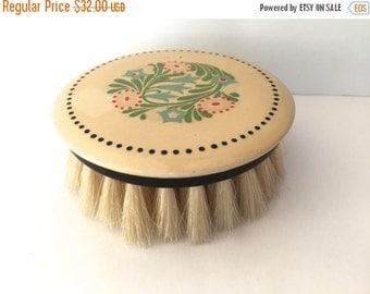 SALE 20% OFF NON-Linens Vintage Celluloid Round Brush Floral Decoration Original Box