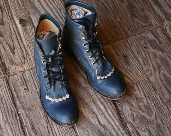 Womens Roper Boots Blue Ankle High Lacers Country Western Vintage From Nowvintage on Etsy