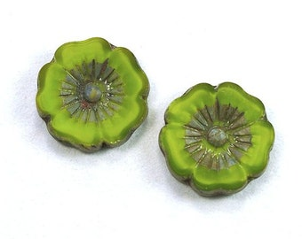 Large Hibiscus Flowers 22mm Satiny Lime Green Picasso Czech Glass Beads - 2