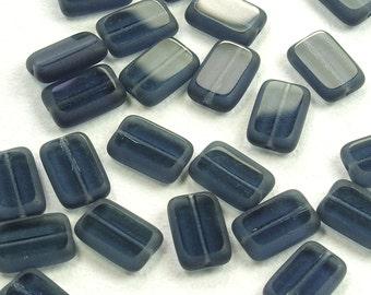Montana Blue Window Rectangle Czech Glass Beads 8x12mm - 12