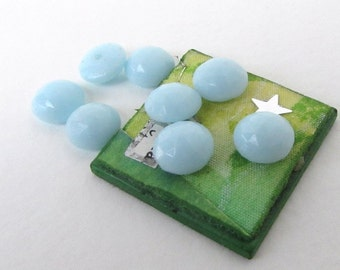 Vintage Cabochon Blue Glass Faceted Button Top Round Czech 8mm gcb0953 (8)