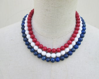Red White Blue Beaded Collar Necklace