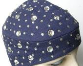 Blum Store Suzy Designer Blue Fine Knit with Rhinestones Women's Hat