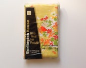 Vintage 70's Yellow Percale Pillowcases New in Pkg Bright Flowers Set of 2 King Size