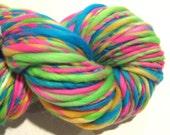 Super Bulky Handspun Yarn, Electric Easter Egg 118 yards, hand dyed merino wool, neon yarn, rainbow yarn knitting supplies, crochet supplies
