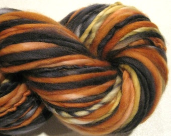 Handspun Yarn Trick or Treat 106 yards hand dyed merino wool orange black Halloween yarn knitting supplies crochet supplies