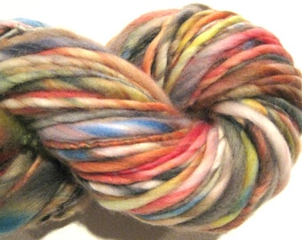 Handspun Yarn All Shook Up 97 yards hand dyed merino wool rainbow yarn black yarn waldorf doll hair knitting supplies crochet supplies