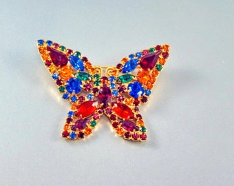 Rhinestone Butterfly Brooch, Vintage 1960, Prong Set Stones, Multi Colored
