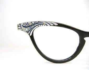Vintage Black Cat Eye Glasses Eyeglasses Frame With Rhinestones Beautiful