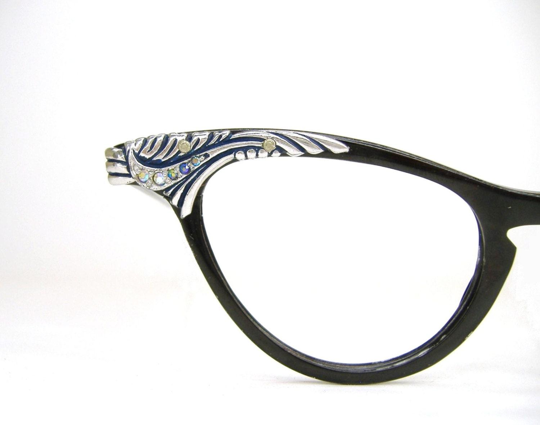 Vintage Black Cat Eye Glasses Eyeglasses Frame With