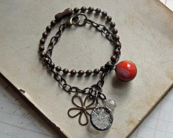 Vintage Charm Stack Bracelet Antique Brass One of a Kind Jewelry