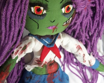 ZOMBIE Japanese School Girl | Cloth Doll | OOAK